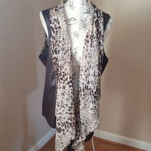 Chicos print vest with faux leather
